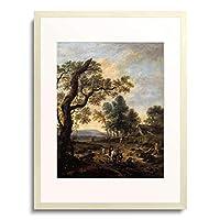 Wijnants, Jan,1630/35-1684 「Landschaft mit Jagdgesellschaft.」 額装アート作品