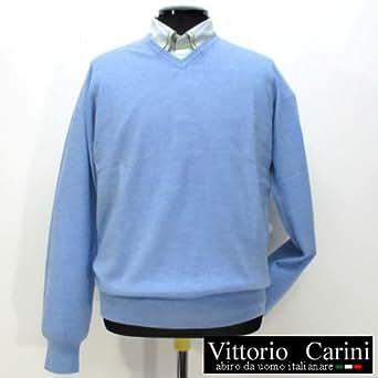 9401 【秋冬】 Zegna Baruffa(ゼニア・バルファ) Vネックセーター ニット Vittorio Carini ライトブルー(水色) サイズL(48)【紳士服/メンズ/男性用】