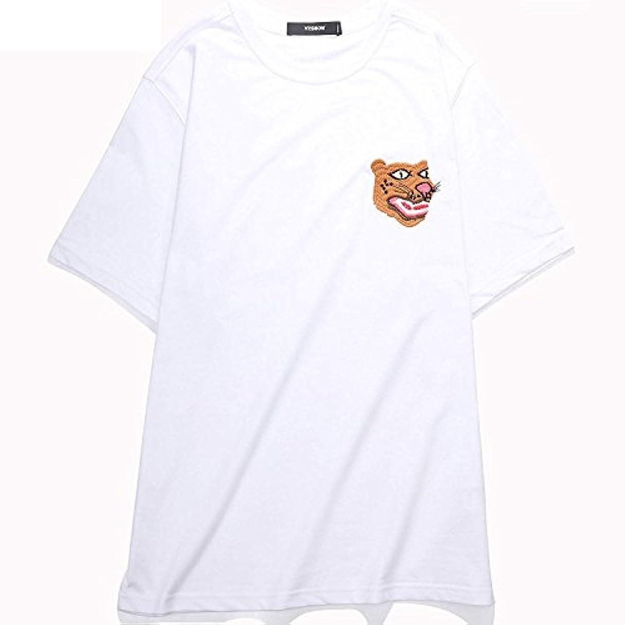 うめき高度リークVIISHOW メンズ カジュアル タイガー 刺繍プリント クルーネック 半袖tシャツ トップス