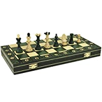 CONSUL GREEN HANDCRAFTED TOURNAMENT WOODEN CHESS Board 19 x 19'- Chessmen Weighted [並行輸入品]