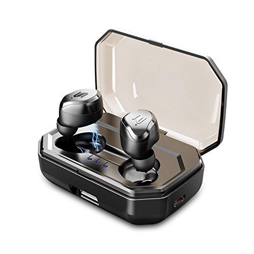 「進化型&自動ペアリング」Bluetooth イヤホン Bluetooth5.0 IPX6防水 ノイズキャンセル ステレオ高音質 完全ワイヤレスイヤホン 充電ケース付き タッチ操作 マイク内蔵 左右分離型 両耳 iPhone/ipad/Android対応 (black)
