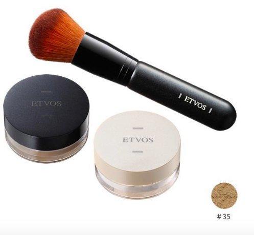【ETVOS(エトヴォス)】トライアル3点セット(ナイトミネラルファンデーション_1g &ディアミネラルファンデーション_1g &ブラシ) (#35)