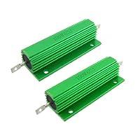 DealMux a12042100ux0234 2ピースグリーンアルミハウジング巻線型抵抗器、100W 6オーム5%