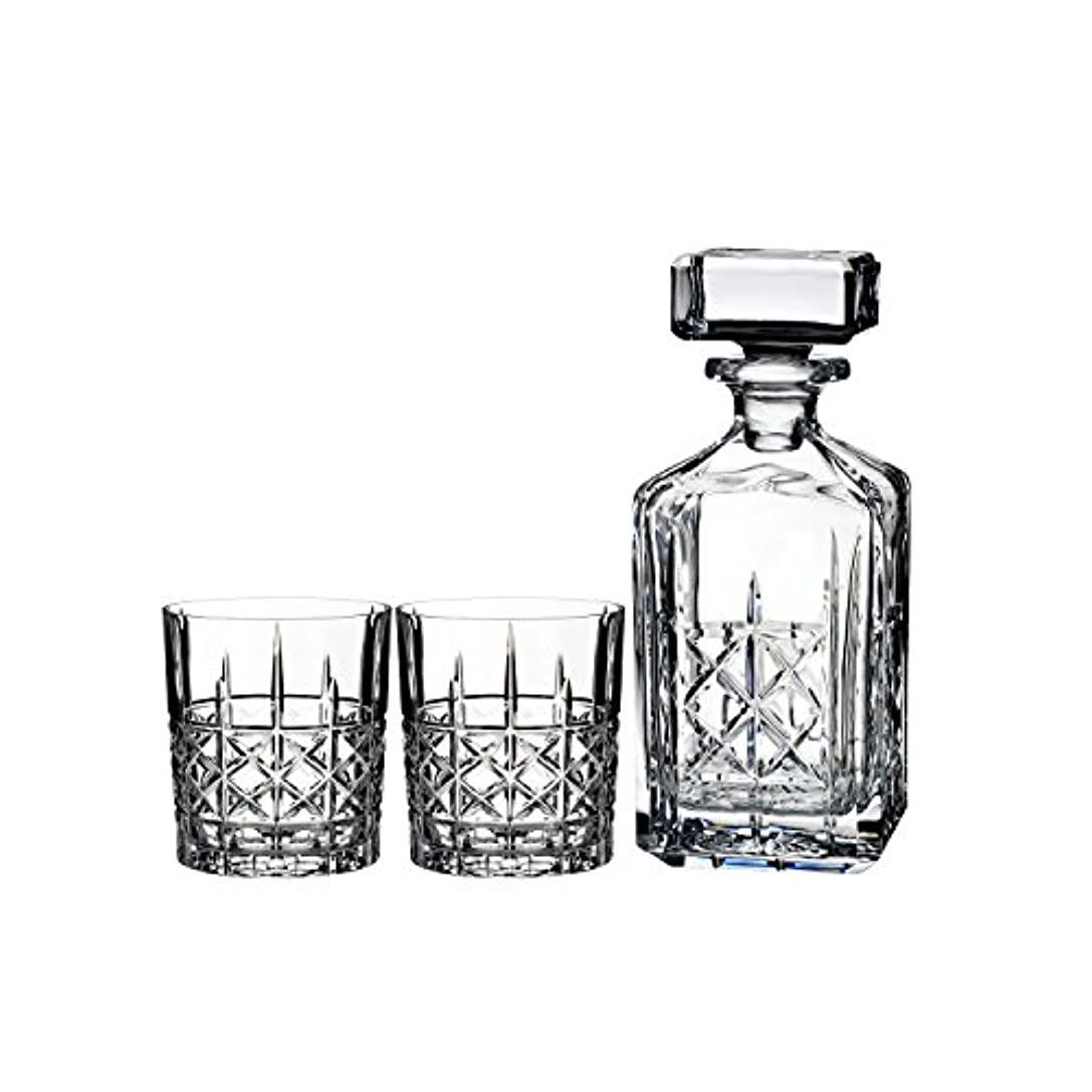 シュート緊張インサートMarquis by Waterford Brady Decanter Set with Two Double Old Fashioned Glasses by Waterford