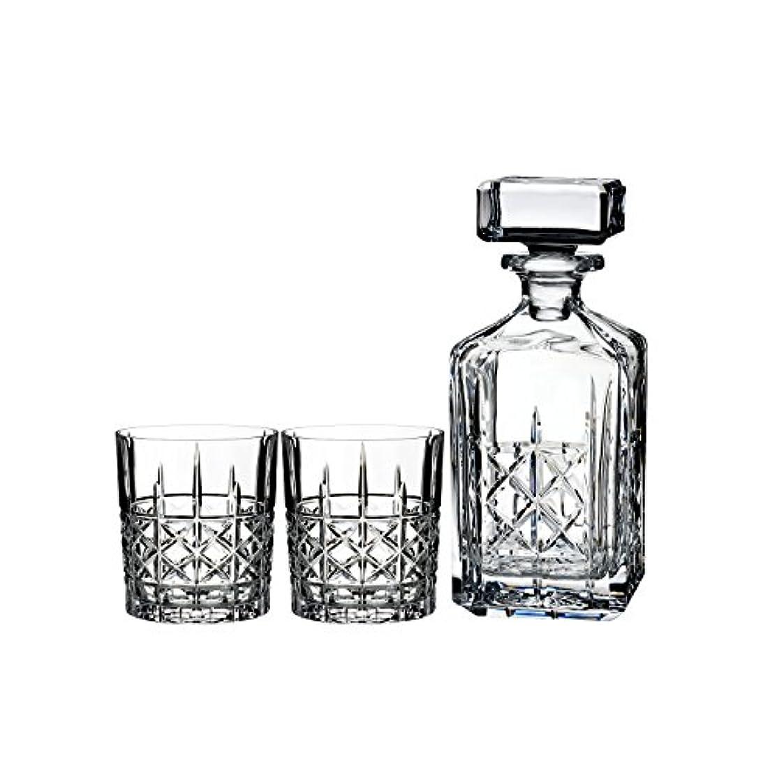 ねじれ甘美なジェムMarquis by Waterford Brady Decanter Set with Two Double Old Fashioned Glasses by Waterford