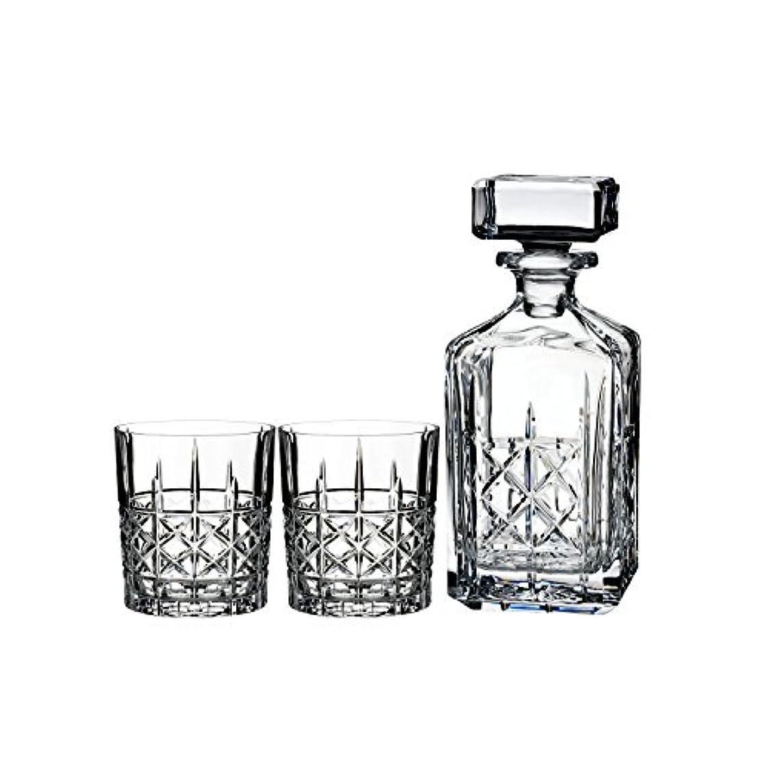 天才スタンド葉を拾うMarquis by Waterford Brady Decanter Set with Two Double Old Fashioned Glasses by Waterford