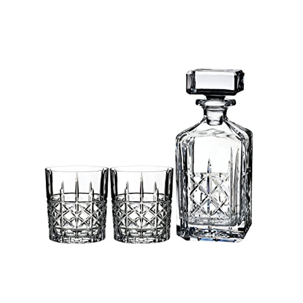 発動機体操雇用Marquis by Waterford Brady Decanter Set with Two Double Old Fashioned Glasses by Waterford