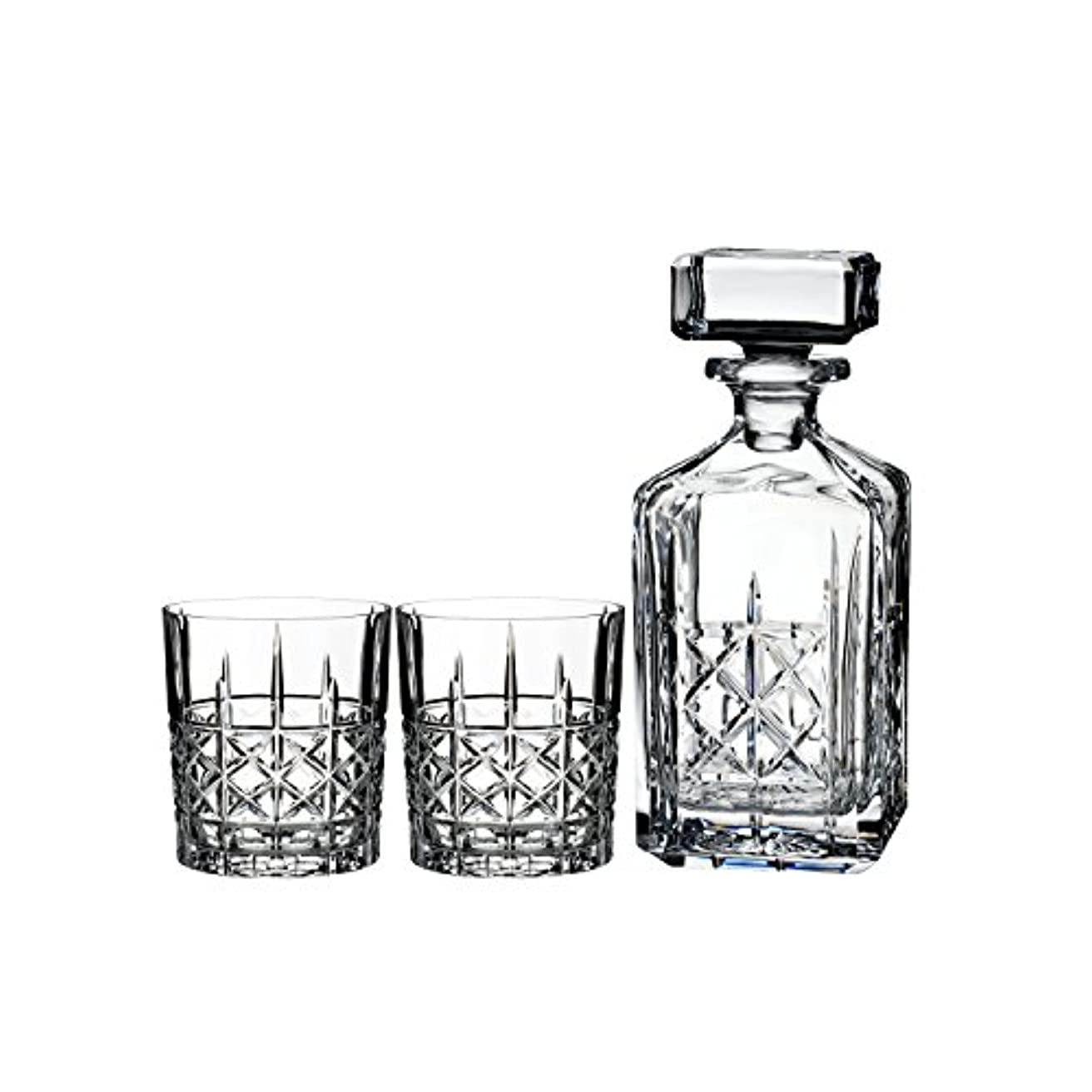 クアッガ名声レーニン主義Marquis by Waterford Brady Decanter Set with Two Double Old Fashioned Glasses by Waterford