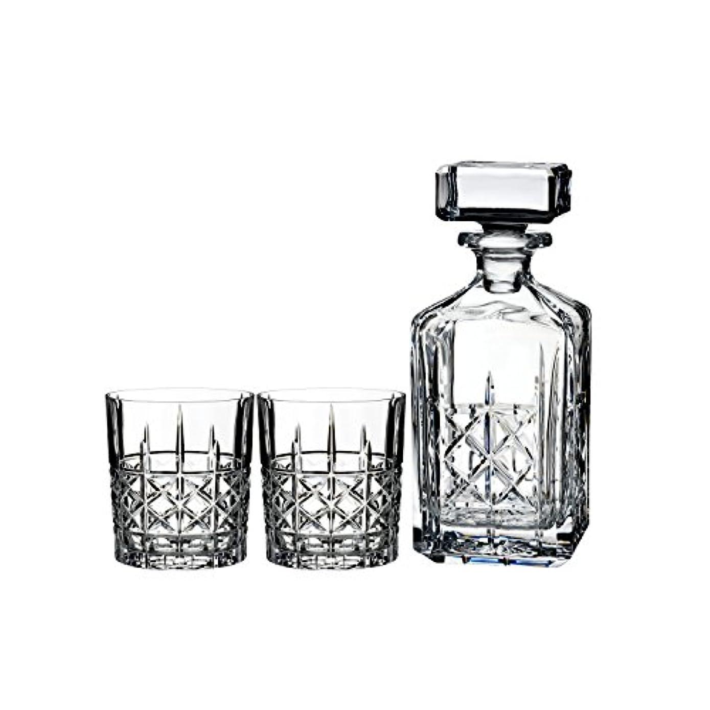 抜け目がない批判的ひばりMarquis by Waterford Brady Decanter Set with Two Double Old Fashioned Glasses by Waterford