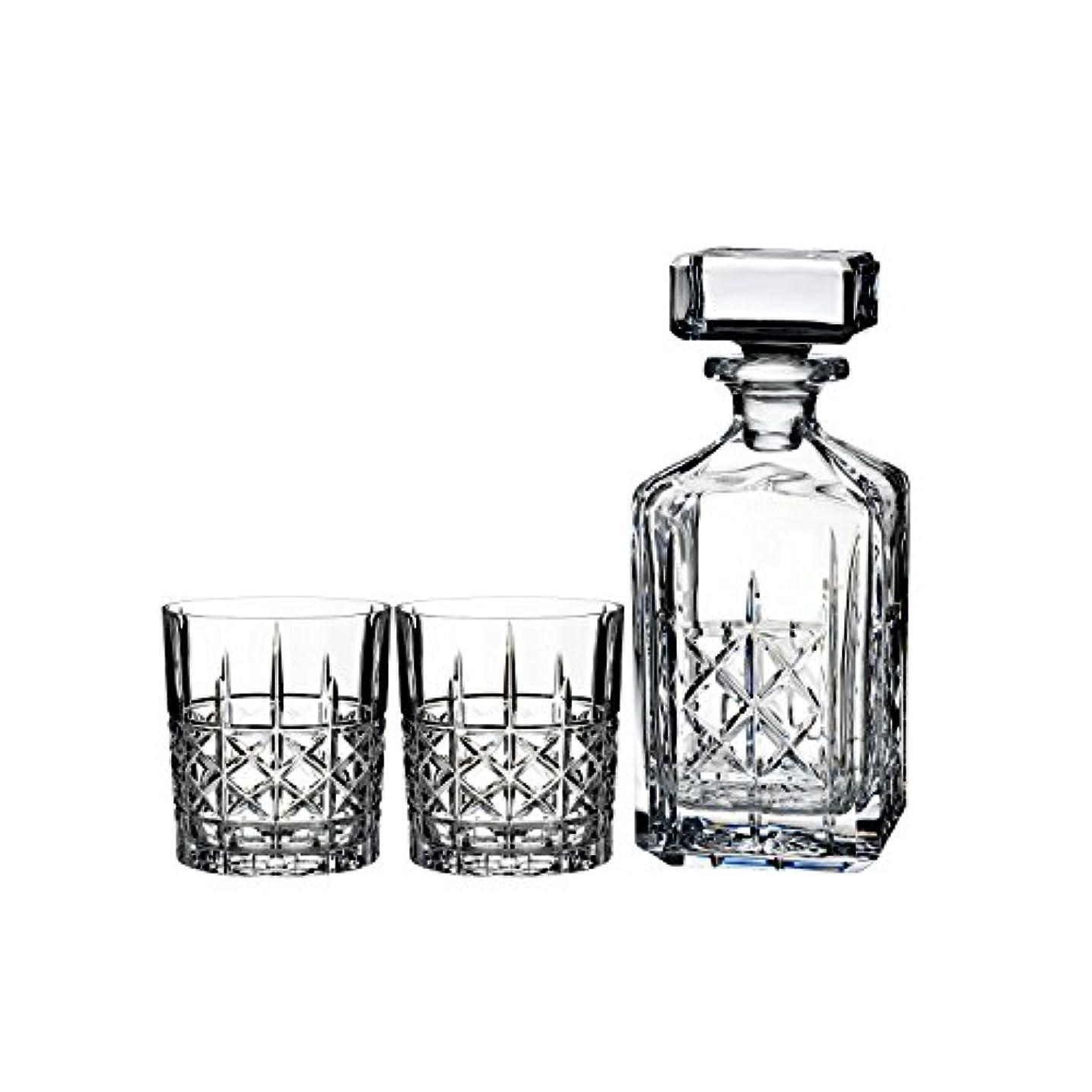 マーキーウェイター有用Marquis by Waterford Brady Decanter Set with Two Double Old Fashioned Glasses by Waterford