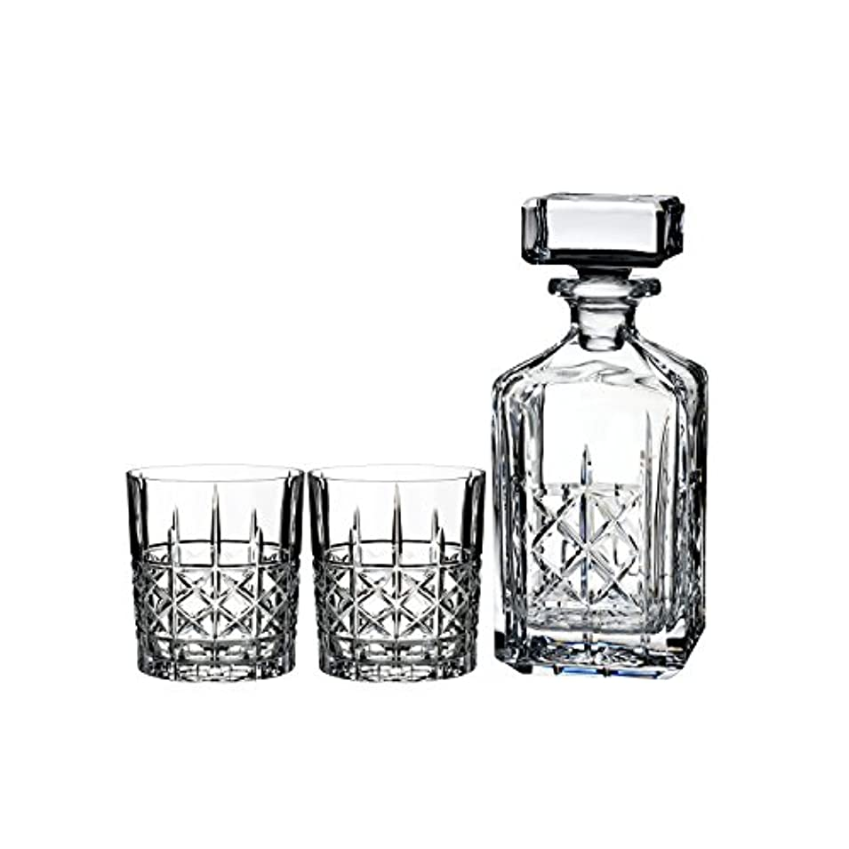 かまど聴覚打ち負かすMarquis by Waterford Brady Decanter Set with Two Double Old Fashioned Glasses by Waterford