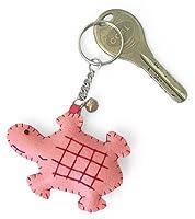 カラフル 海亀 レザー キーホルダー(ピンク)【バッグチャームにもぴったりのハンドメイド!不老長寿の縁起物】