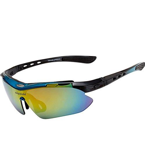 HIGASHI スポーツサングラス 国内正規品 偏光レンズ 国内検査済 UV400 紫外線99%カット レンズ5枚 9カラー フルセット ケース付 軽量 プレゼント ゴルフ 釣り ランニング 野球 登山 アウトレット 海 HSG01-5(ブルー/ブラック)