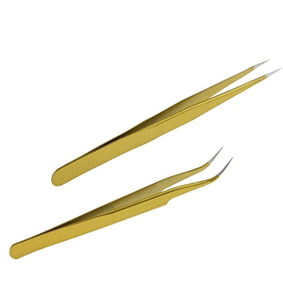 広大な固める角度T TOOYFUL ステンレススチール製のまつげエクステンションピンセットクリップ+ストレートヘッド