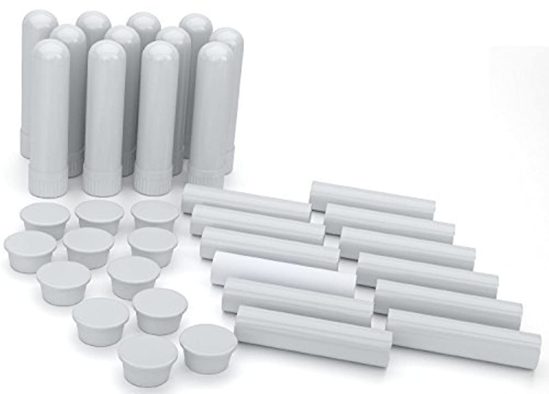 黒かんたんのホストEssential Oil Aromatherapy Blank Nasal Inhaler Tubes (12 Complete Sticks), Empty White Vapor Inhalers w/Wicks...