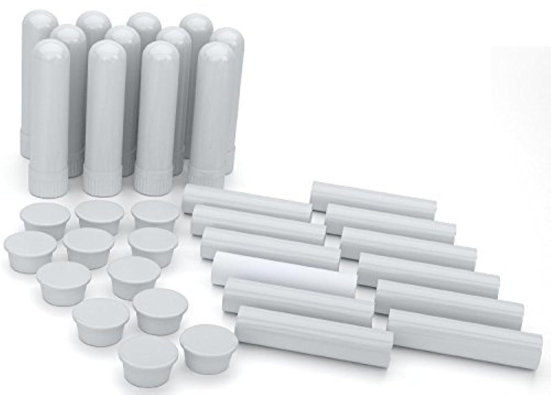 行動電報ライセンスEssential Oil Aromatherapy Blank Nasal Inhaler Tubes (12 Complete Sticks), Empty White Vapor Inhalers w/Wicks...