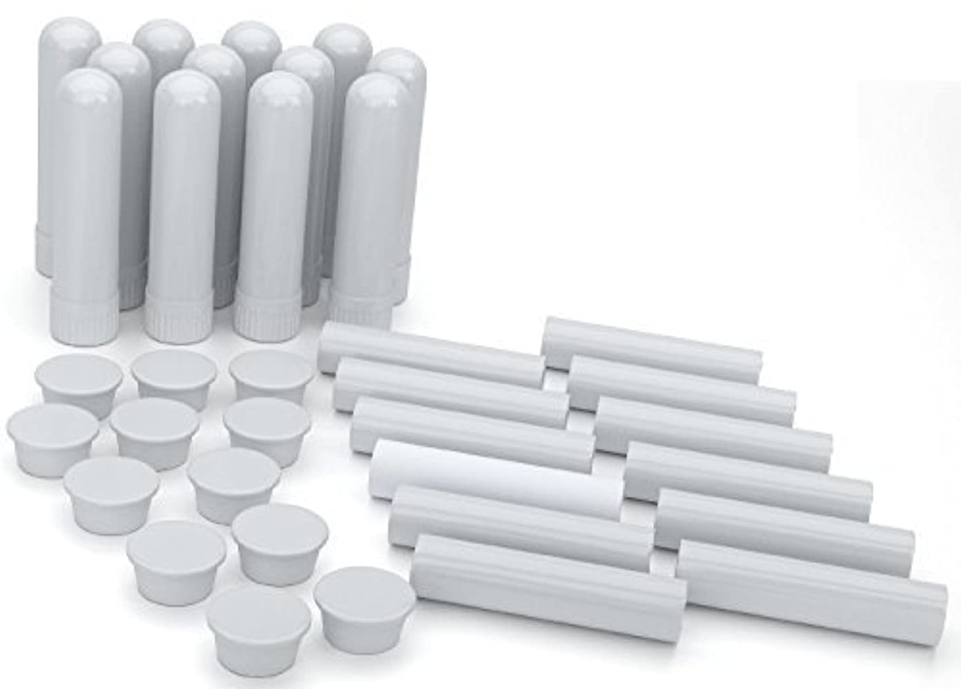 Essential Oil Aromatherapy Blank Nasal Inhaler Tubes (12 Complete Sticks), Empty White Vapor Inhalers w/Wicks...