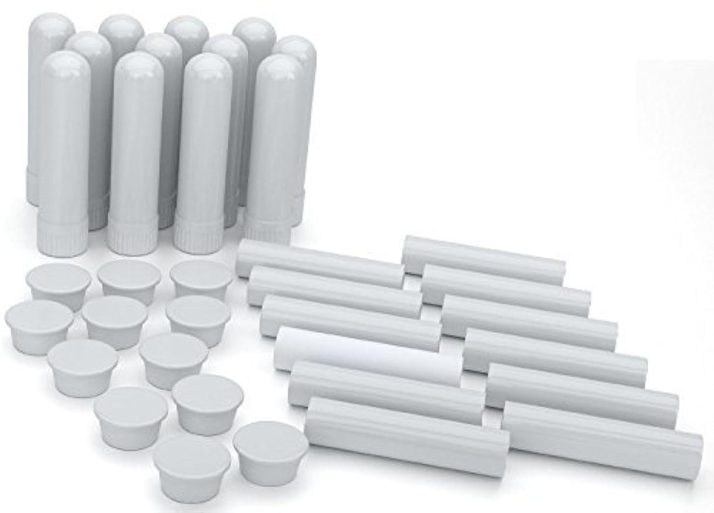 Essential Oil Aromatherapy Blank Nasal Inhaler Tubes (12 Complete Sticks), Empty White Vapor Inhalers w/Wicks...