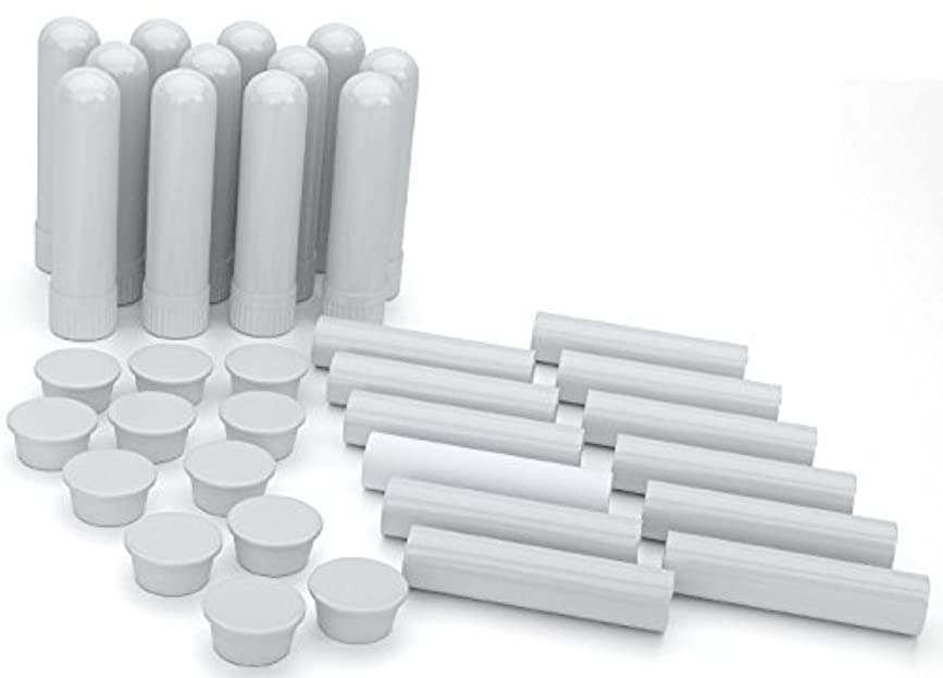 理容師スペア毛細血管Essential Oil Aromatherapy Blank Nasal Inhaler Tubes (12 Complete Sticks), Empty White Vapor Inhalers w/Wicks...