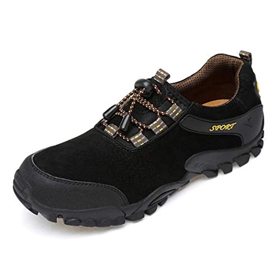 原理噂ボイコットハイキングシューズメンズアウトドアスポーツシューズ反衝突つま先スニーカー滑り止め耐摩耗性低ゴムの靴を助けるために,Black,44