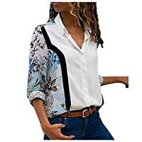Romancly Womens Stitching Chiffon Button Long Sleeve Blouses and Tops Shirts 3 S