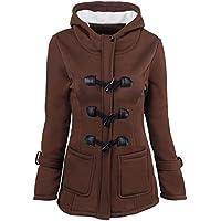 BOZEVON Women Jacket Hooded Horn Buttons Long Coat Warm Jackets Long Sleeves Parker Thick Peacoat Snowsuit Outwear Autumn Winter Slim Fit