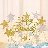 Adomi ケーキ飾りセット 誕生日パーティー ケーキ挿入カード (1*HAPPY BIRTHDAY+40*星) 2色 男女通用 グリッター紙 誕生日 結婚式 キャンプ