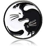 Don Flyee 猫 太極図 ピンバッジ ピンズ バタフライクラッチ 合金製 C0054