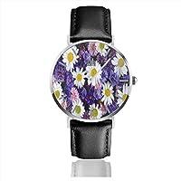 腕時計紫の花の間の白いヒナギク。ファッション、カジュアル、ビジネス腕時計、ベルトウォッチユニセックス