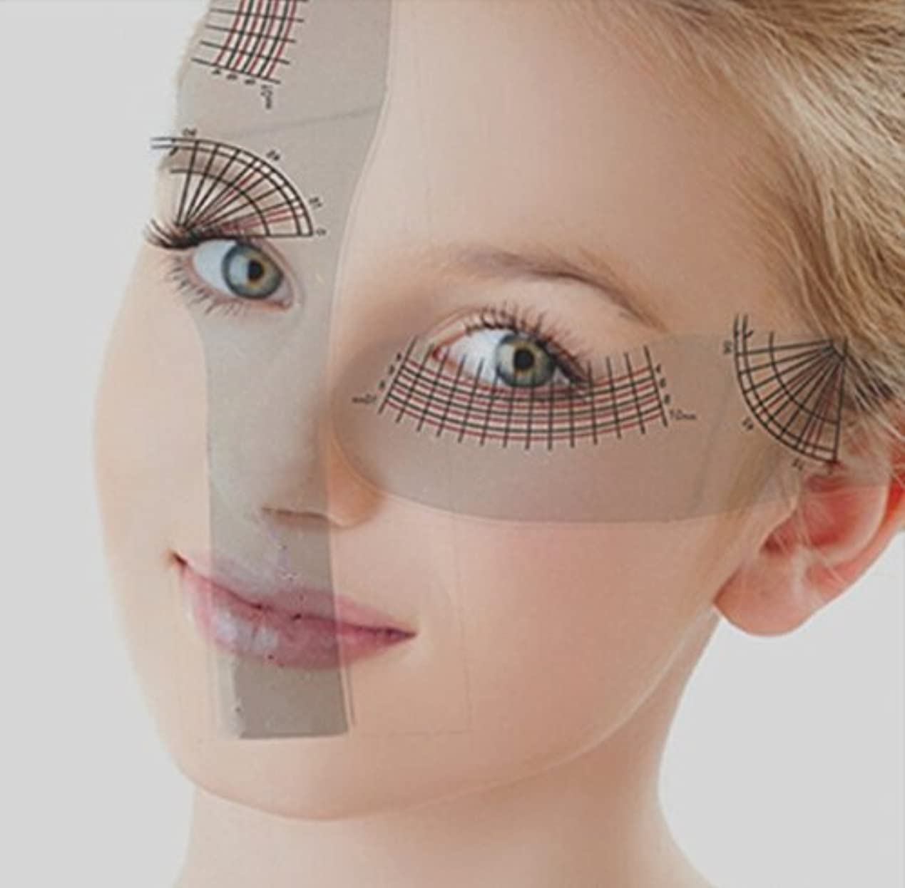 CHENGYIDA 5個 クリア プラスチック製 アイラッシュ  つげまつげ カール 長さ 測定 定規 実用的なツール 定規 見やすい方眼定規