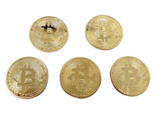 仮想通貨 ビットコイン風 金貨 メダル モーチーフ 5枚セット レプリカ