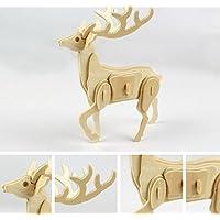 HuaQingPiJu-JP 創造的な木製の3Dパズルアーリーラーニング動物玩具ファンタスティックギフト子供(鹿)