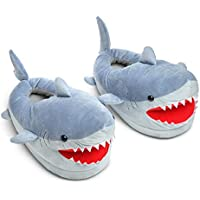 ThinkGeek Chomping Shark Plush Slippers for Kids/Junior Ages 4-8. Grey-Blue
