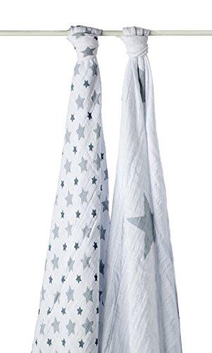 aden + anais (エイデンアンドアネイ) 【日本正規品】 モスリンコットン おくるみ 2枚セット twinkle two pack grey stars  swaddle 2 pack-4024