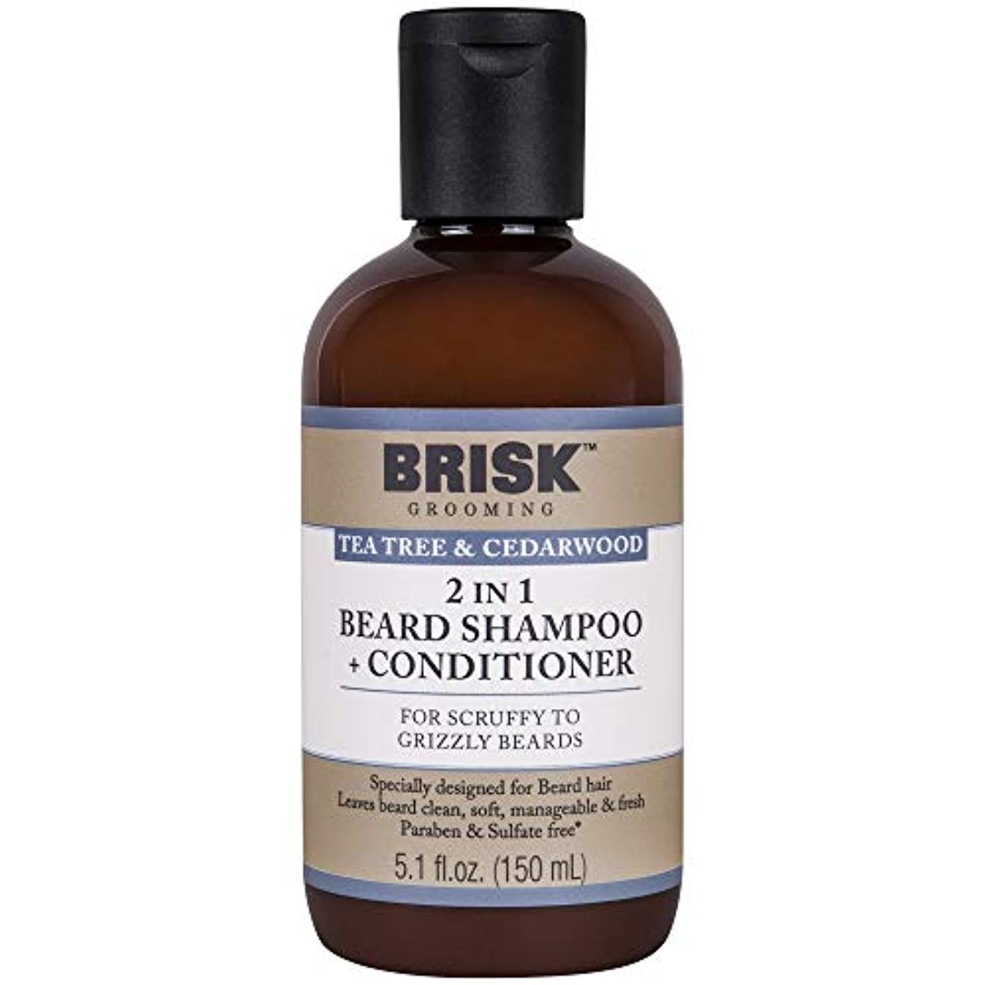 Brisk Grooming 、ティーツリー&シダーウッドビアードシャンプー、ナチュラル&メンズのエッセンシャルオイルでは5.1オンスボトルクレンジング&コンディショニングシャンプービアードはグルーミング、パラベン&硫酸塩フリー