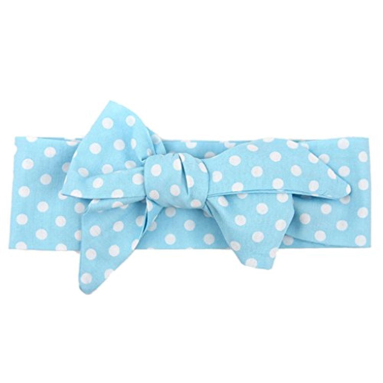 【ノーブランド品】 子供 女の子 ヘアバンド カチューシャ ドットパタン かわいい ヘアアクセサリー ギフト 全5色 - ライトブルー