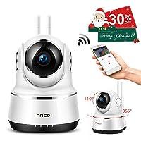 FREDI ネットワークカメラ WiFi スマホで遠隔監視・操作 P2P 防犯カメラ 暗視 動体検知 録音 ワイヤレスカメラ 双方向音声 ベビーカメラ 屋内 ペット 子供 見守り IPカメラ