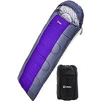 LICLI 寝袋 夏用 コンパクト 軽量 封筒型 シュラフ 1.8kg フード付き 220cm 収納袋付き 8カラー 最低使用温度 -10度 (ブルー)