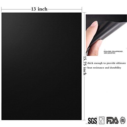 ZCHING マジック グリルマット-100% オンスティック BBQ グリル&ベーキングマット-FDA-承認済み,PFOA無料,ヘビーデューティー,再利用可能で清掃が容易,ガスの再利用/木炭/電気グリル-15.75 x 13(2のセット) (黒) [並行輸入品]