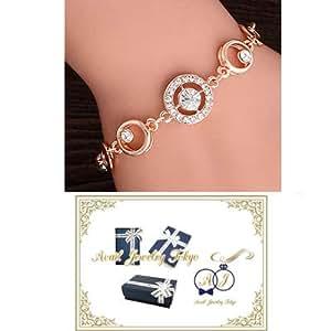 Avail Jewelry Tokyo CZラインストーン ローズゴールドサークルブレスレット