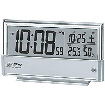 セイコー クロック 目覚まし時計 電波 デジタル カレンダー 温度 湿度 表示 銀色 メタリック SQ773S SEIKO