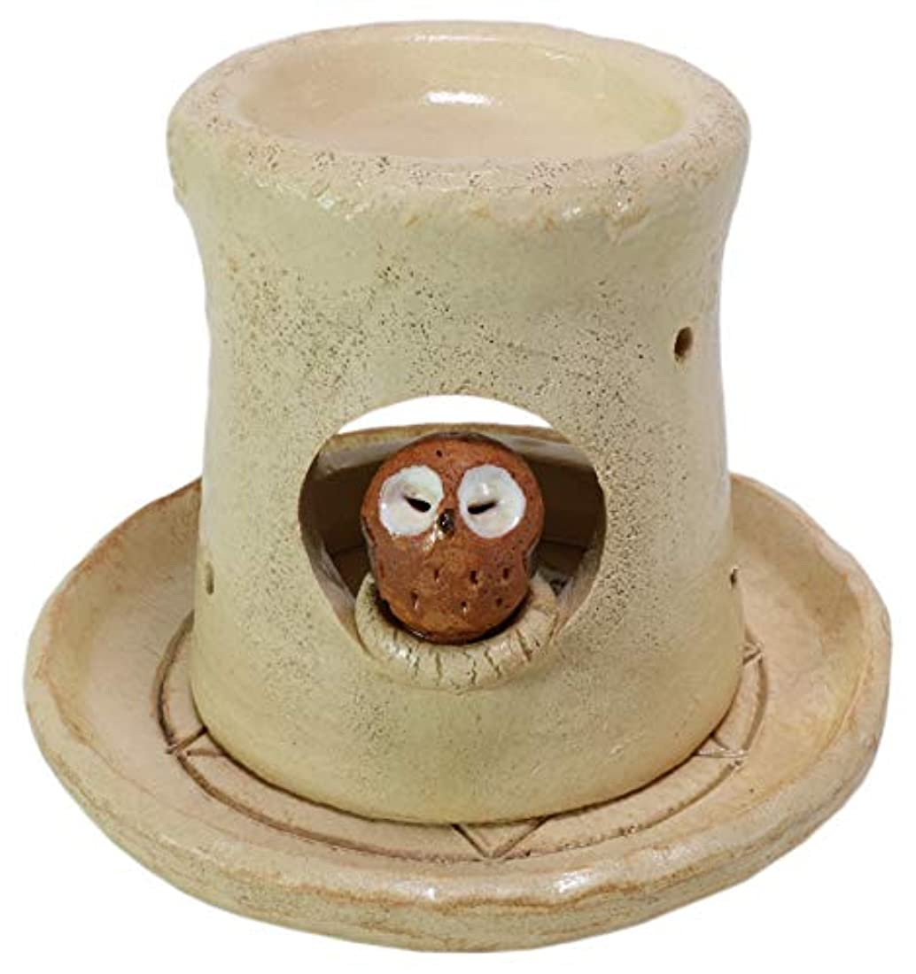 キャンドル狼トーク香炉 フクロウ 茶香炉 [H14cm] HANDMADE プレゼント ギフト 和食器 かわいい インテリア