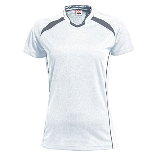 ウンドウ wundou ウンドウ ウィメンズ バレーボールシャツ 吸汗 速乾 ホワイトXダークグレー P1620 ホワイトXダークグレー L