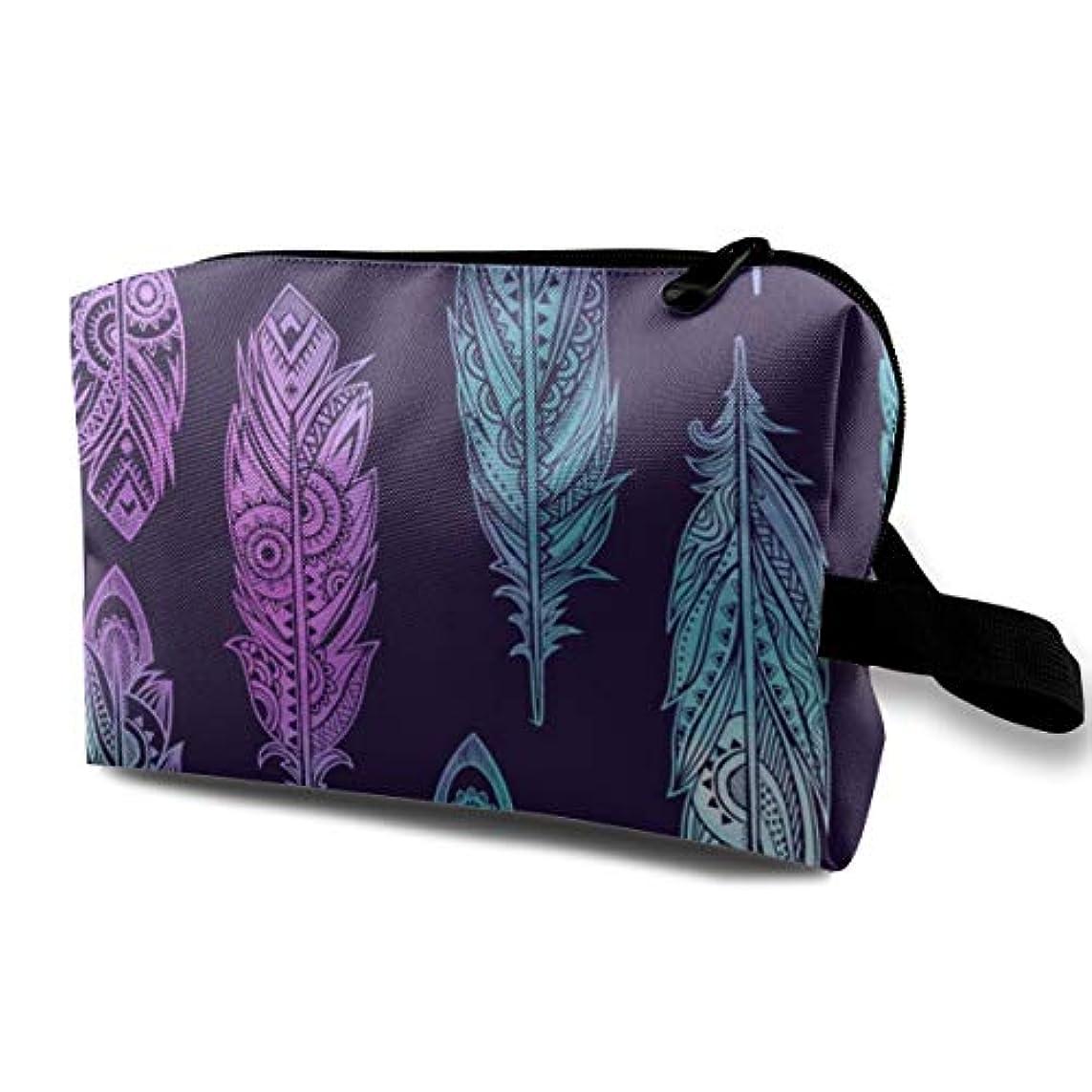 決めます指紋防ぐVintage Tribal Feathers 収納ポーチ 化粧ポーチ 大容量 軽量 耐久性 ハンドル付持ち運び便利。入れ 自宅?出張?旅行?アウトドア撮影などに対応。メンズ レディース トラベルグッズ