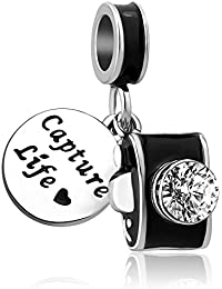 LovelyJewelry Camera Charm Capture Life Travel Dangle Bead for Bracelet