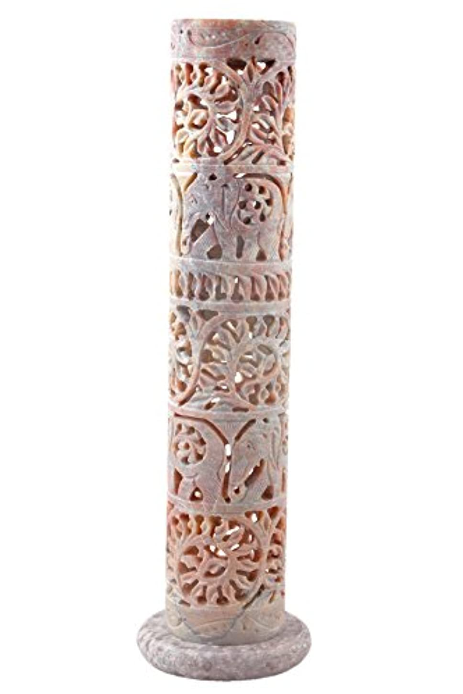 マラソンフェロー諸島同性愛者Hashcart 装飾的な花と象のハンド彫刻 ソープストーン お香スティック ホルダー 10.6インチ 自宅のインテリア/ギフトに