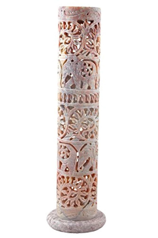 Hashcart 装飾的な花と象のハンド彫刻 ソープストーン お香スティック ホルダー 10.6インチ 自宅のインテリア/ギフトに