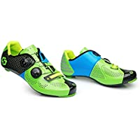 Road Bike Shoes Carbon Fiber Breathable Anti-Slip Training Shoes Unisex Ultra Light Cycling Lock Shoes Mountain Athletic Shoes Racing,Green,40