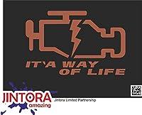 JINTORA ステッカー/カーステッカー - check engine light is a way of life - チェックエンジンライトは人生の方法です - 153x99 mm - JDM/Die cut - 車/ウィンドウ/ラップトップ/ウィンドウ - 茶色