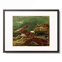 ウジェーヌ・ドラクロワ Ferdinand Victor Eugene Delacroix 「Tam O'Shanter, poursuivi par les sorcieres」 額装アート作品